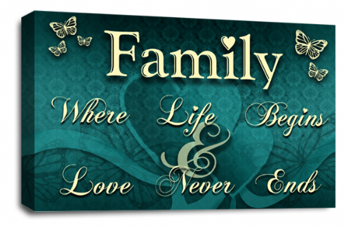 Family Quote Wall Art Picture Teal Cream Grey Love Print